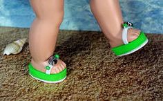 "FuN Lime Green and White! ~FLiP-FLoPs SaNDaLs~ for Vintage/Repro Ginny, Muffie, Madame Alexander 7.5"" dolls. My own design and at www.karmelapples.com on a special order basis. I have one set in stock right now, but if they sell it only takes 2-3 days to make up and ship out. Matches the lime green sunsuit beach set I have listed separately to a ""T"". Click the pix to take you to them. Ginny loves bright summer colors!"