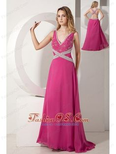 Hot Pink A-line V-neck Appliques With Beading Prom dress Floor-length Chiffon- $155.23  http://www.fashionos.com  http://www.facebook.com/quinceaneradress.fashionos.us  http://www.youtube.com/user/fashionoscom?feature=mhee   Add a romantic edge to any special occasion in this elegant prom dress! It features a flattering floral embroidery bodice with straps and a deep beaded V-neck, showing just enough skin to be classy without being too revealing.
