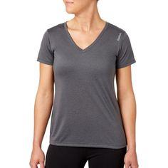 Reebok Women's Plus Size Heather Performance V-Neck T-Shirt, Size: 1XL, Gray