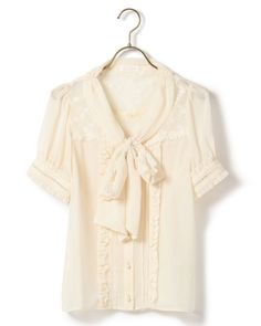 Available in a sweet white and soft pink, this LIZ LISA blouse is covered in romantic details like frills, lace, and floral prints, but is done in a solid color which makes it easy to wear with all of your favorite bottoms! Its design also features a ribbon on the front, and the slight transparency of the floral lace shouldn't go overlooked, either~  #tokyootakumode #jfashion,kawaii