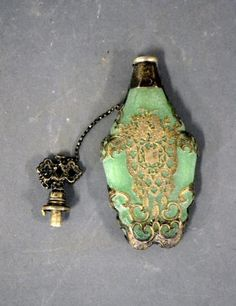 Antique silver overlay perfume bottle