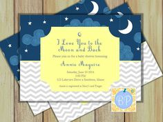 I Love You to the Moon and Back Invitation Baby by BloomParties, $8.00
