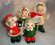 vintage christmas figures | Carolers Family Vintage Christmas Ceramic Figurines | Vintage Objects
