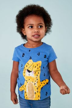 Buy Blue Cheetah Short Sleeve Interactive T-Shirt from the Next UK online shop Latest Fashion For Women, Kids Fashion, Cheetah Shorts, Online Clothing Stores, Next Uk, T Shirts For Women, Sleeves, Blue, Stuff To Buy