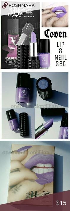 🎁 Kat Von D / Sephora Lip & Nail Set - Coven LIMITED EDITION & NO LONGER AVAILABLE  New - Never Used  AUTHENTIC  Color: Coven (matte lavender)  Includes: ☆ KVD Lipstick - .04oz travel sz ☆ Sephora Nail Polish - .13oz travel sz  A duo featuring a Kat Von D Studded Kiss Lipstick with its exact Formula X Nail shade match in a cult-favorite shade.  Formula X Nail & famed tattoo artist & beauty phenomenon Kat Von D colaborated to create the perfect matchup of extraordinary pigment, exceptional…