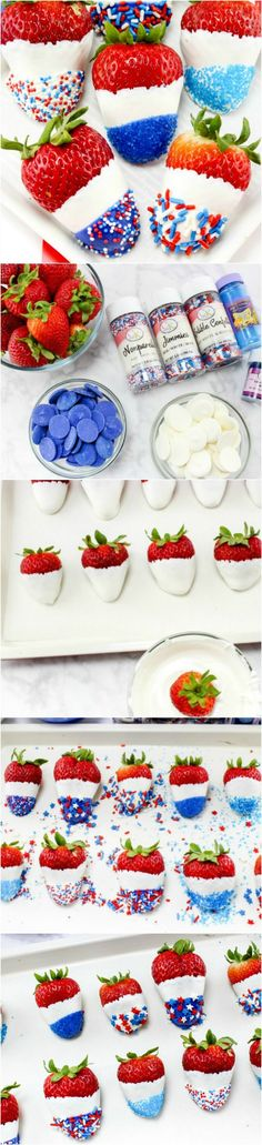 How to make Red White and Blue Chocolate Covered Strawberries (Chocolate Strawberries How To Make)