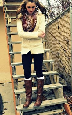 A great outfit (riding boots, cozy cardi) could be elevated to the next level with bright socks or a patterned scarf.