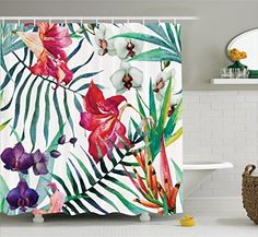 Watercolor Flower Decor by Ambesonne Tropical Wild Orchid Flowers with Palm Leaves Print Exotic Style Nature Artwork Fabric Bathroom Shower Curtain Set with Hooks 69W X 70L Inches Long Multi Color ** You can find out more details at the link of the image.