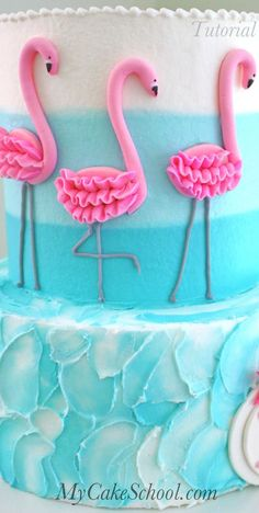 Learn to Make this CUTE Flamingo Cake (with ombre buttercream) in MyCakeSchool.com's Member Cake Decorating Video Library! #cakedesigns