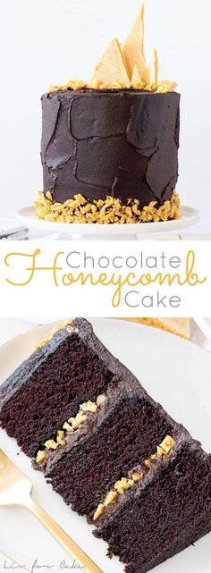 The ultimate dark chocolate cake, layered with a rich fudge frosting and homemade honeycomb. | http://livforcake.com via /livforcake/