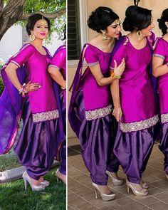 vibrant salwar kameez in violet and hot pink