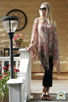 One size sheer poncho floral print Bohemian Romantic artsy hippie Eco cape plus size all sizes by Upcycled Swag by UpcycledSwag on Etsy