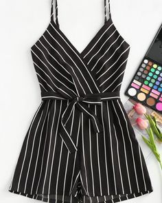 AZULINA Striped Spaghetti Strap Belt Romper Women Jumpsuit 2018 Casual Rompers Summer Beach Girls Clothes Mini Playsuit Overalls - Jumpsuits and Romper Cute Rompers, Rompers Women, Jumpsuits For Women, Jumpsuits And Rompers, Evening Jumpsuits, Girl Outfits, Casual Outfits, Fashion Outfits, Womens Fashion