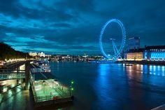 london eye city night lights landscape buildings