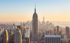 Download wallpapers New York, Empire State Building, morning, USA, skyscrapers, World Trade Center 1, metropolis