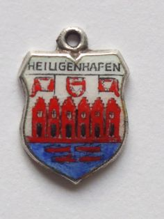 Heiligenhafen ,   Germany      vintage silver enamel travel charm     #Traditional