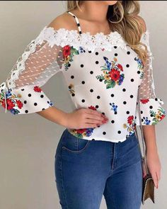 Kalte Schulter Mesh Insert Print Bluse - New Ideas Trend Fashion, Womens Fashion, Style Fashion, Latest Fashion, High Fashion, Mode Outfits, Fashion Outfits, Casual Outfits, Denim Overall