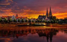 Cathedral in regensburg germany under a red sunset - ( . Regensburg Germany, City Wallpaper, Widescreen Wallpaper, Iphone Wallpaper, Desktop Wallpapers, Desktop Pictures, Wall Art Pictures, 1366x768 Wallpaper, Full Hd 1080p