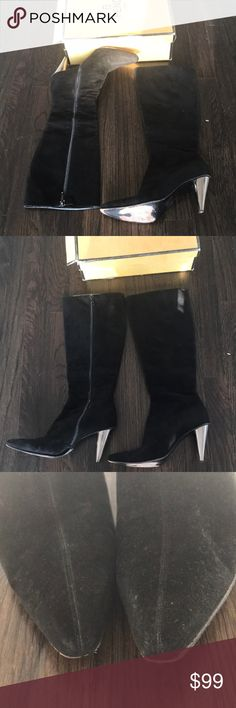 Fendi Black suede boots Amazing pair of preowned Fendi suede black boots in size 7 these Have minor wear . A quick trip to shoe maker will make these like new the original price is over 1000 !!! Fendi Shoes Heeled Boots