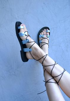 Leather lace up sandals / Gladiator sandals / Blue metallic