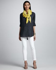 Delave Washed Linen Tunic, Slim Stretch Crepe Ankle Pants & Botanical Jacquard Reversible Scarf, Women's by Eileen Fisher at Neiman Marcus. Love this look. With simple research and a little leg work, you could get this look for a lot less. The scarf makes this outfit, Heck, just get the scarf and put it with a black tee and white skinnies and cute shoes.
