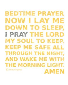 Now I lay me down to sleep... Children's Bedtime Prayer in sunflower yellow and grey