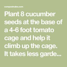 Plant 8 cucumber seeds at the base of a 4-6 foot tomato cage and help it climb up the cage. It takes less garden space and makes harvesting easier. I did this for the first time last year and it is the best method I have ever used. - Compost Rules.