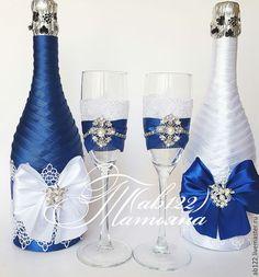 Свадебные аксессуары ручной работы. Ярмарка Мастеров - ручная работа. Купить Свадебный набор с синим декором. Handmade. Синий
