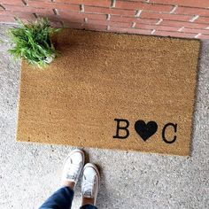 the custom initials doormat - couple's initials - by theCHEEKYdoormat - custom doormat - custom welcome mat - cute doormat - cute welcome mat - home decor - front porch - apartment decor