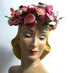 Exquisite Multicolor Pastel Velvet Shell Flower Topped Hat circa 1960s - Dorothea's Closet Vintage