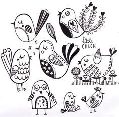 Drawing birds for by katyhalfordillustration Bird Drawings, Doodle Drawings, Cute Drawings, Animal Drawings, Drawing Birds, Drawing Faces, Bird Doodle, Art Fantaisiste, Doodle Art