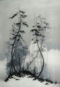 Brooks Salzwedel. again the layers and value the images each convey. simple yet mysterious and eerie this medium lends to a foggy feel.