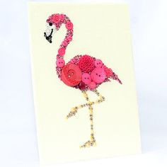 Pink Flamingo Button Art This piece has been created on a sturdy 5x7 art board covered with a high quality 100% cotton cream color Aida