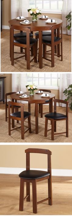 Dining Sets 107578: 5 Piece Round Glass Dining Table Set 4 Chairs ...