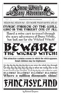 Snow White's Scary Adventures Typography by Richard Terpstra. Would be sooo cute as a background paper in a scrapbook! Disney Rides, Disney Love, Disney Stuff, Walt Disney, Disney Facts, Disney Quotes, Vintage Disneyland, Disneyland Ideas, Disneyland Halloween