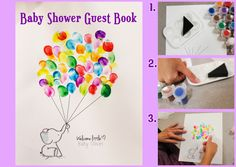 Baby shower guest book with colorful thumbprints to hang in baby's room.