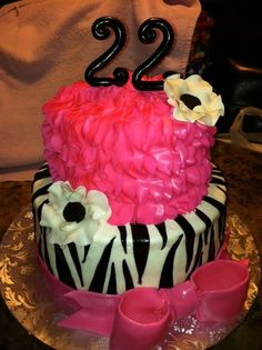 Would Love For My 21st Bday Cake Zebra Pink Ruffle