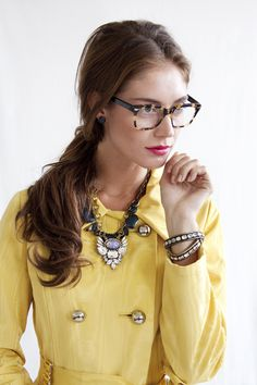 Loren Hope Blythe And Elise Necklaces Add Glamour To A Vintage Yellow Trench Top The