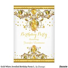 Gold White Jewelled Birthday Party Invitation 2 Birthday Party faux Sprinkle Gold Jewelled Ornate Jewel Birthday Party Invitation Birthday Party. All Occasions Fabulous Elegant Events for Women, Girls, Party Invites for all ages, just customize to the age you want! Customize with your own details and age. Template for Sweet 16, 16th, Quinceanera 15th, 18th, 20th, 21st, 30th, 40th, 50th, 60th, 70th, 80th, 90, 100th, Fabulous product for Women, Girls, Zizzago created this design PLEASE NOTE…