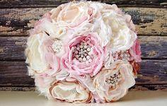 Fabric flower bridal bouquet.