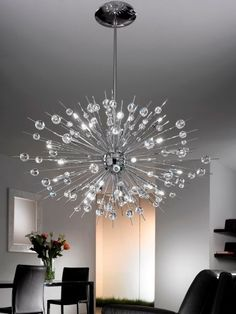 A real center piece in any room. Dining Room Lighting, Light Decorations, Lighting Design, Centerpieces, Chrome, Chandelier, Room Decor, Ceiling Lights, Display