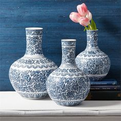 "Blue and White Set of 3 Collar Vases - Porcelain Materials: PORCELAIN Dimensions: 9"" H x 6"" Dia, 11"" H x 6 1/2"" Dia, 12 1/2"" H x 8"" Dia   Please allow 1-2 weeks"