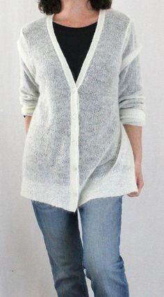 J. Jill Wool Mohair Blend L Sleeve Vneck Button Down Cardigan Ivory Sz L #JJill #Cardigan