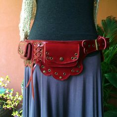 Leather Utility Belt Bag The Lotus by ThaiArtistCollective