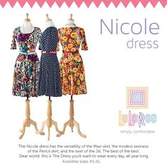 LuLaRoe Nicole Dress $48 lots of prints and colors. Join the group to see my inventory and shop! www.facebook.com/groups/LuLaRoe.Northshore