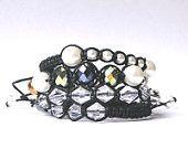 Set of 4 Madagascar Bracelets, Genuine African Gemstones, Mala Bracelet, Macrame Bracelet, Shamballa style.