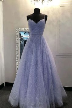 Cheap Prom Dresses by SweetheartDress · All Products Informations About Light Blue Tulle Sequins V Neck Long Dress Spaghetti Straps Evening Dress from Sweetheart Dress Pin You can easily use my profil Straps Prom Dresses, Pretty Prom Dresses, Cheap Evening Dresses, A Line Prom Dresses, Ball Dresses, Evening Gowns, Evening Party, A Line Dress Formal, Lavender Prom Dresses