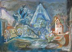 Frances Hodgkins Tithe Barn, Cerne Abbas , 1943 Gouache and pencil 485 x 700 mm _______ Auckland, Gouache, New Zealand, Watercolour, Art Gallery, Barn, Pencil, France, Artists