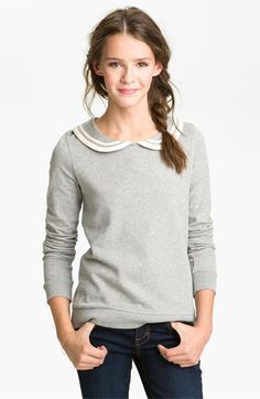 BP. Peter Pan Collar Sweatshirt (Juniors) | Nordstrom (because the J Crew Peter Pan collar shirt is already sold out.) - OWN IT