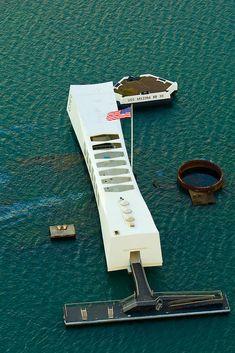 Aerial view of the USS Arizona Memorial, Pearl Harbor